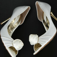 womens White satin rose decorated heel Wedding party shoes   monstar place  26