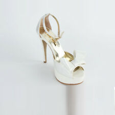 womens White satin ribbon platform heel Wedding shoes  party 30