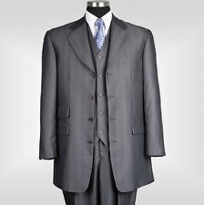 New Men's 3 piece Luxurious Wool Feel 4 Buttons Suit with Vest Charcoal 2913