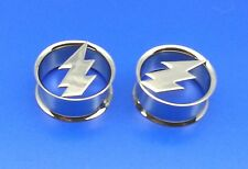 "Super Cool Steel Lighting Bolt Double Flared Metal Plugs( 2 g To 1""inch )"