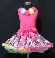 Hot Pink Floral Print Pettiskirt and Hot Pink Pettitop Top Rainbow Rose Set 1-8Y