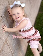 NewBorn Baby Pink White Brown Lace Chiffon ONEPIECE Petti Romper Jumpsuit NB-3Y