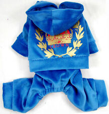 Blue Crown Print Velvet Overall (1pc) Sport Cute costume dog clothes Chihuahua