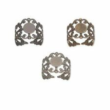 Lot of 8 Adjustable Filigree Toe Ring Findings with 8mm Cabochon & Flat Back Pad
