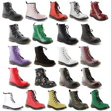 New Ladies Ankle Retro Combat Lace Funky Vintage Goth Boots Size UK 3 4 5 6 7 8