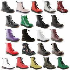 Ladies Womens Ankle Retro Combat Lace Funky Vintage Goth Boots Shoes Size 3-8
