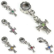 Cross Cubic Zirconia Silver Dangle European Charm Bead For Bracelet Necklace