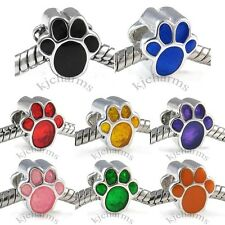 Dog Paw Silver European Spacer Charm Bead For Bracelet Necklace