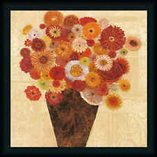 Bold Bouquet I Colorful Orange Flower Contemporary Floral Framed Art Print Wall