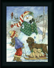 Frosty Morning Greeting by Donna Race Snowman Christmas Décor 12x16 Framed Art