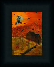 Halloween Night Witch Flying on a Broom Framed Art Print Wall Décor Picture 7x5