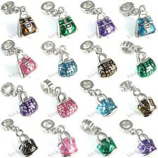 Wholesale Lot 10pcs Purse Handbag Silver European Spacer Charm Bead For Bracelet
