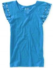 PS Aeropostale Turquoise Girls Flutter & Sequin Sleeve Relaxed Tee Shirt M L XL