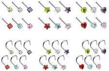 6pcs Prong Set Heart, Star or Square Gem Nose Rings - Studs, Screws, 18g, 20g