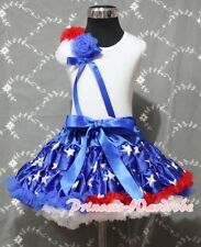 July 4th Blue Patriotic Star Pettiskirt with Bunch Rosettes White Pettitop 1-8Y