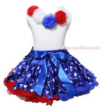 July 4th Patriotic Glitter Star Pettiskirt White Pettitop with Rosettes Set 1-8Y