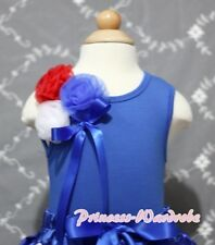 Royal Blue Tank Top Shirt with Patriotic Style Rosette For Girl Pettiskirt NB-8Y
