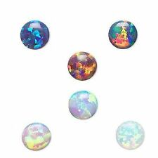 Lot of 4 Little 4mm Round Flat Back Manmade Opal Cabochons