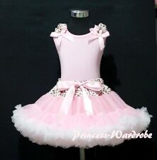 Leopard Waist Pink White Pettiskirt with Pink Pettitop Pink Ruffle Bow Set 1-8Y