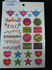 1 x LARGE SHEET GIRLS COLOURFUL TEMPORARY TATTOOS WORDS STARS HEARTS 190mmx120mm