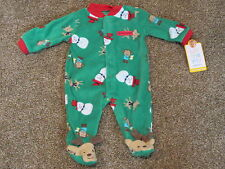 Carter's Newborn Infant Baby Boys Blanket Sleepers Christmas Snowman Monkey NEW