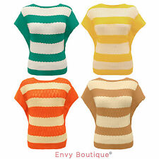 New Ladies Knitted Short Sleeve Scoop Neck Jumper Womens Cardigan Top Size 8-14