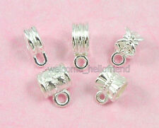 Free Ship 50 Mixed Silver /P Bails Beads Fit Charm Bracelet SY03