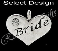 1 x WEDDING CHARM SILVER BEAD FOR LINK BRACELET BRIDE GROOM USHER BRIDESMAID ETC