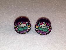 Hottets New Acrylic Skull Cup Cake Single Flared  Plugs. ( 2 Gauge to 1 inch )