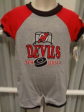 NWT NHL New Jersey Devils Appliqued Infant Color Block Romper - 12, 18 & 24 mos.