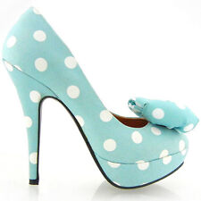 New Blue White Polka Dots Bow EVE Platform Shoes AU Size 5/6/7/8/9
