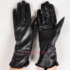 New Women's Classic Genuine Leather Ruched Evening Dress Winter Gloves