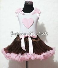 White Pettitop Top in Pink Ruffle Heart with Brown Pink Pettiskirt Girl Set 1-8Y