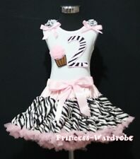 Posh Light Pink Zebra Pettiskirt 2nd Birthday Cupcake Ruffle & Bow Top Party Set