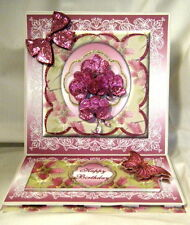 Handmade Greeting Card - 3D Magenta Orchids in a Floral framed Easel Card