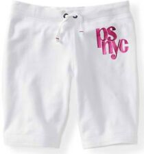 Kids White PS Aeropostale Girls NYC Shine Drawstring Knit Bermuda Shorts Sz 4 5