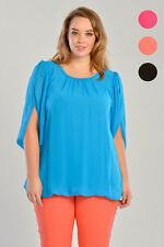 Womens Plus Size Chiffon Angel Sleeve Top Ladies New