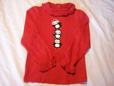 NWT Girl's Gymboree Winter Penguin red long sleeve shirt ~ 18-24 months 2 2T
