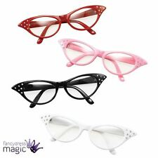 NEW 1950s 50s PINK LADY ROCK N ROLL FANCY DRESS GLASSES SPECS COSTUME ACCESSORY
