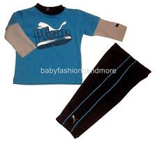 Puma baby boys 2 pc outfit layered look shirt & sporty pants blue/blacK/gray NWT