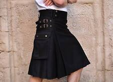 Great Gift : Military Black Scottish Casual Utility Kilt Various Sizes