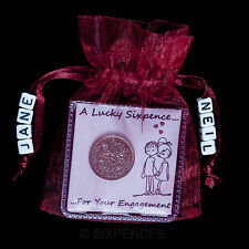 PERSONALISED ENGAGEMENT LUCKY SIXPENCE GIFT KEEPSAKE HIS AND HER NAME BEAUTIFUL