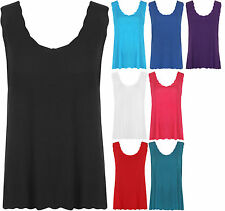 New Womens Plus Size Scallop Vest Ladies Sleeveless Strappy Scoop Neck Top 12-26
