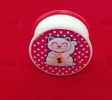 "Lucky Cat Kitty Logo Single Flared Acrylic Ear Plugs.Sizes( 2 Gauge to 1"" inch)"