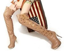 Womens Sexy Lace Up Metal Heeled Over The Knee Thigh High Boots Plus Size #C61