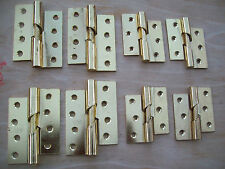 """RIGHT or LEFT 4"""" & 3"""" POLISHED BRASS STEEL RISING DOOR BUTT HINGES X 1 PAIR"""