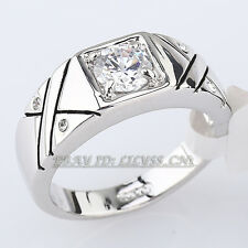 A1-R054 Fashion Solitaire Men's Band Ring White Gold 18KGP Swarovski Crystal