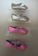 Younger Girls Cutie Crack Silver/Pink Velcro Ballet Pumps With Bow. H2238