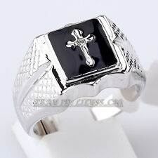 B1-R585 Men's Black Glaze Cross Ring 18KGP use Swarovski Crystal