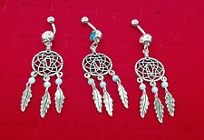 New Metal Steel Dream Catcher Navel Belly Rings with Silver Metal Wind Feather .
